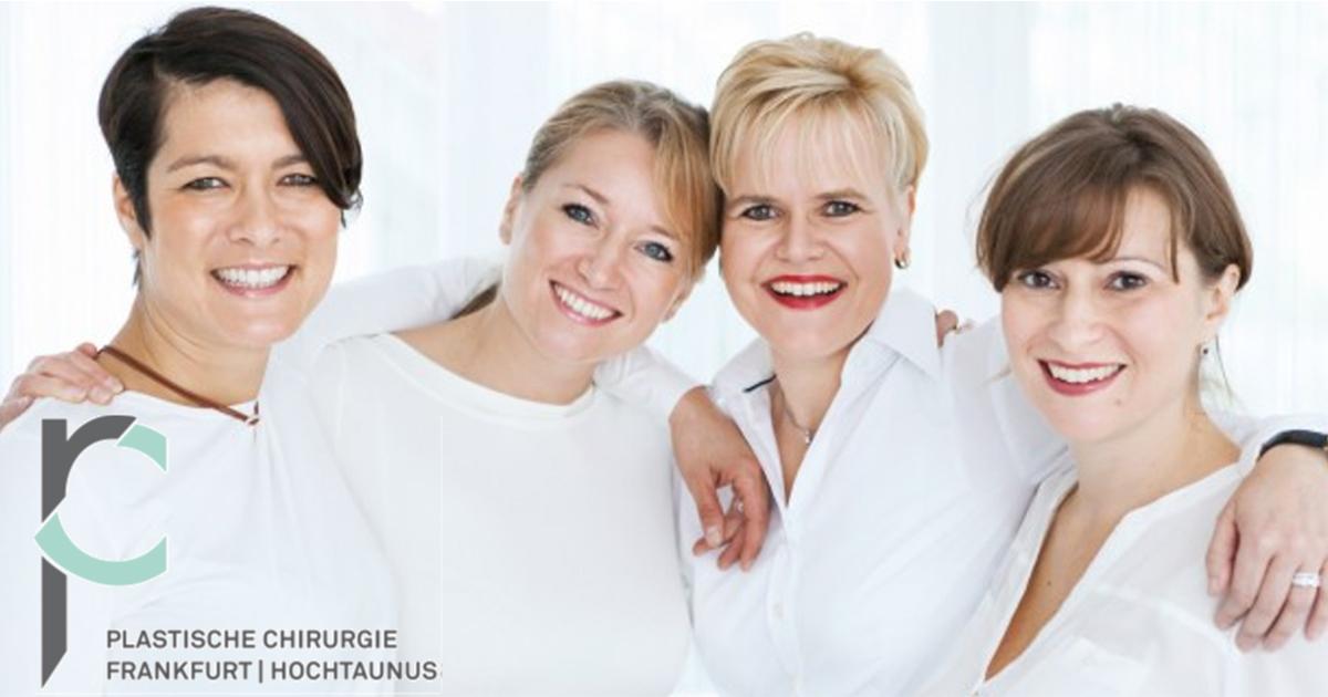 Ärztinnen-Team der Plastischen Chirurgie Frankfurt | Hochtaunus mit Logo. Dr. Potente, Dr. Baican, Dr. Luther, Dr. Köhler